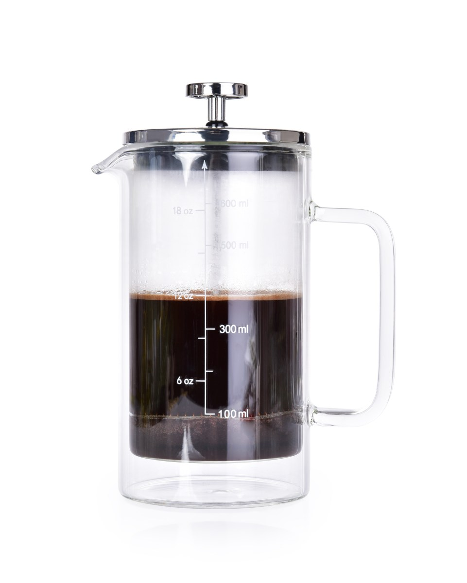 600 ml dvoustěnná termo konvice na kávu a čaj, FRENCH PRESS DOUBLE-GLASS