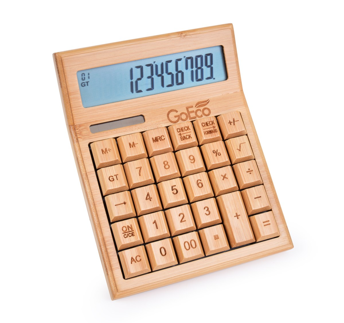 Multifunkční bambusová kalkulačka s velkým displejem