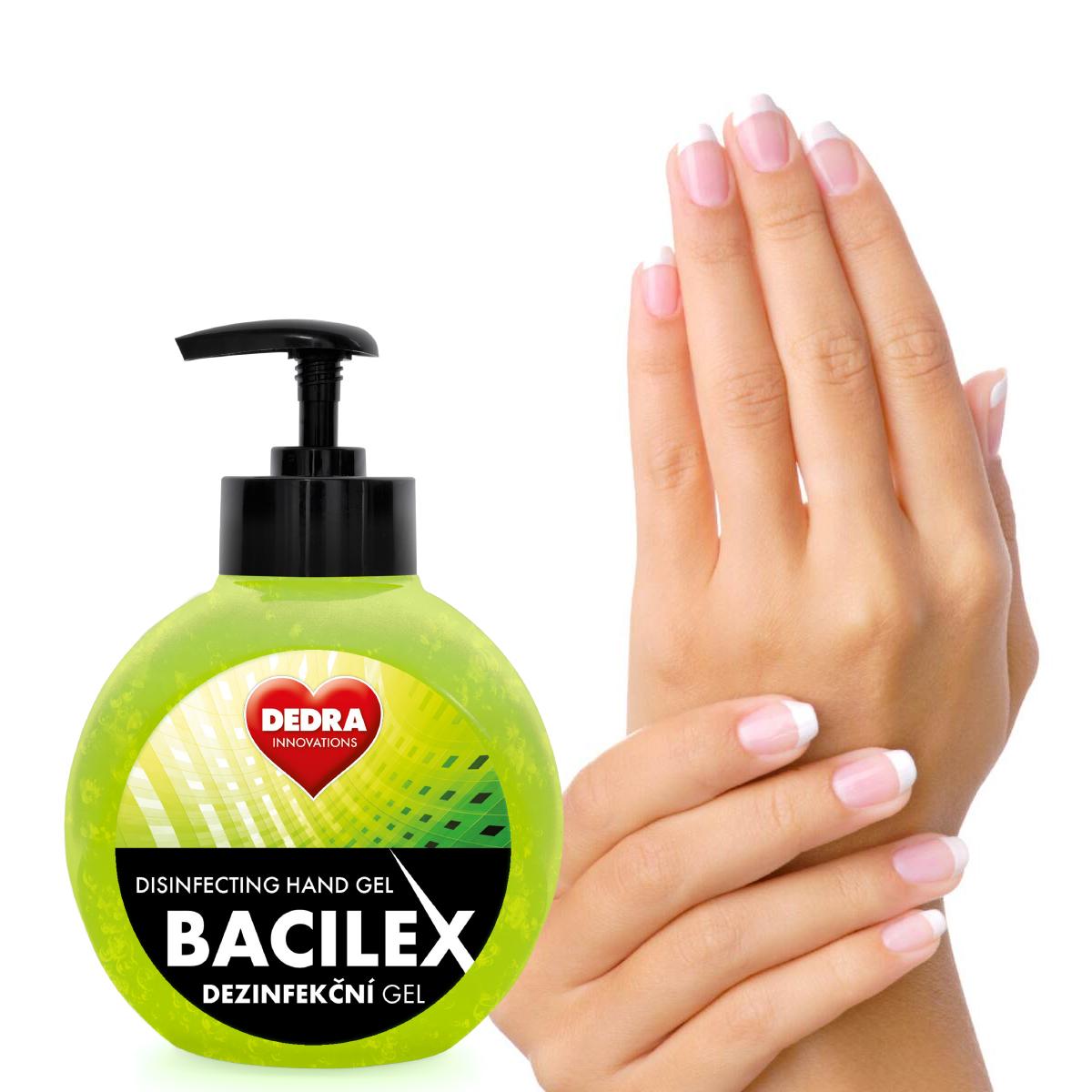 5 ks PROFI SADA certifikovaný dezinfekční gel na ruce, 70 % alkoholu, BACILEX DISINFECTING HAND GEL,