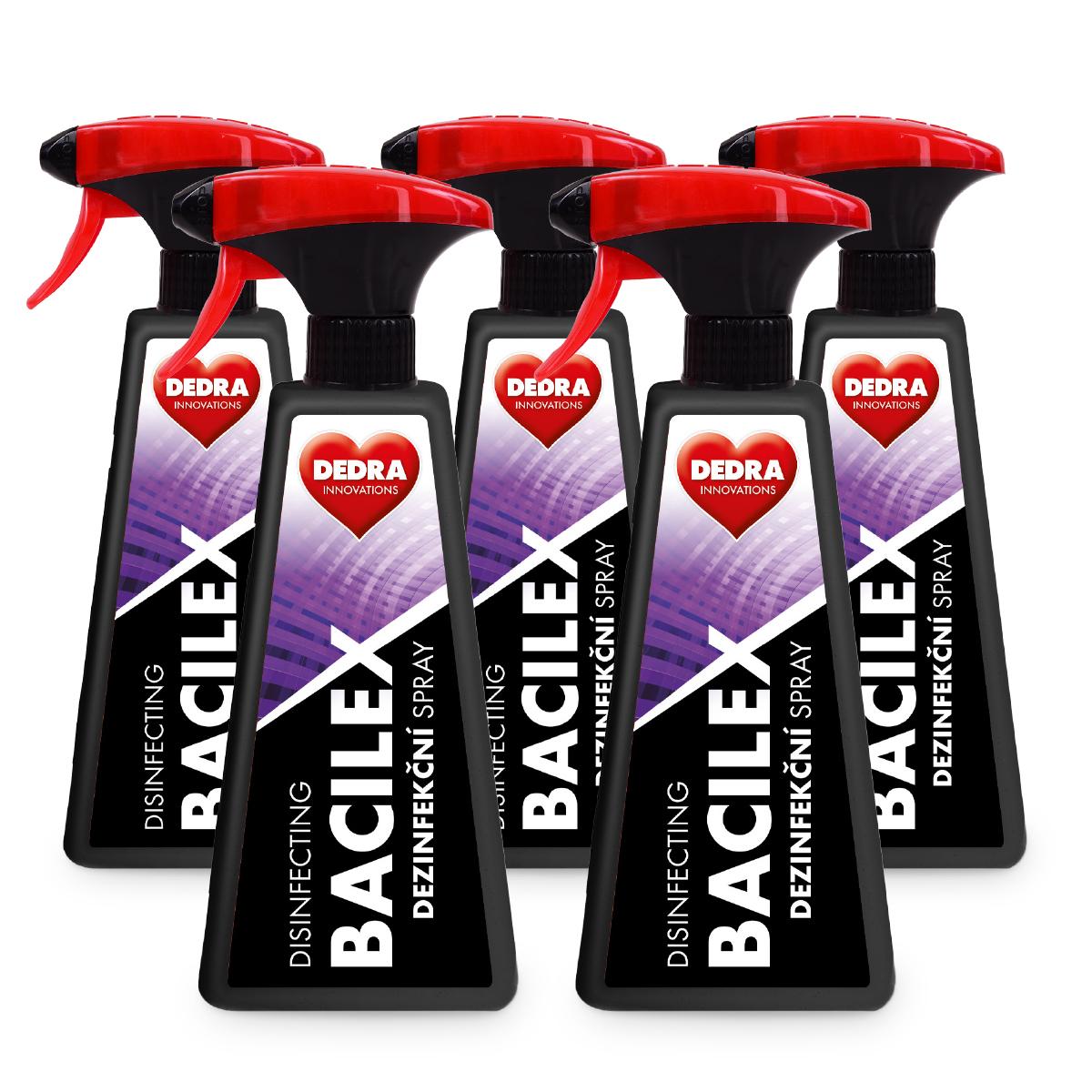 5 ks PROFI SADA certifikovaný dezinfekční spray, na plochy i respirátory, 71 % alkoholu, BACILEX® DISINFECTING SPRAY