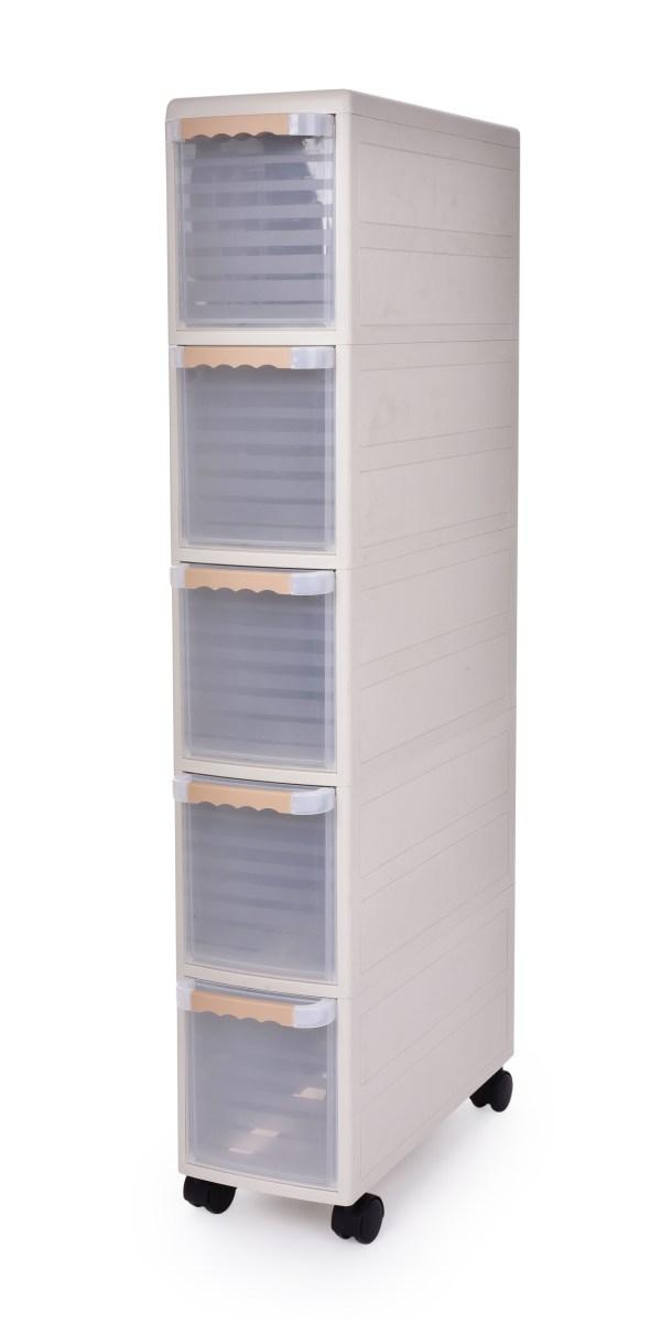 Pojízdný regál Slim box 18 cm s transparentními zásuvkami výška 103 cm