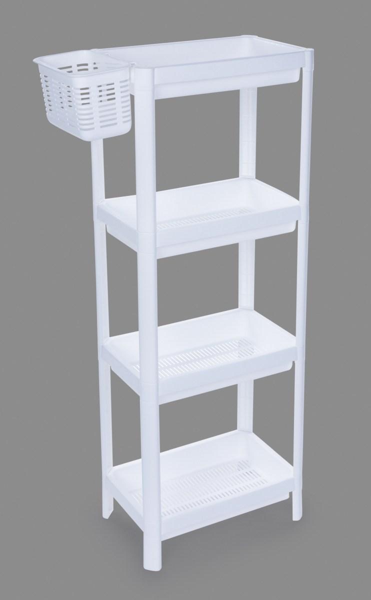 Patrový obdélníkový regál PERFOR WHITE 23 cm, 4 patrový