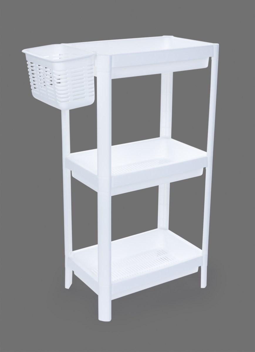 Patrový obdélníkový regál PERFOR WHITE 23 cm, 3 patrový