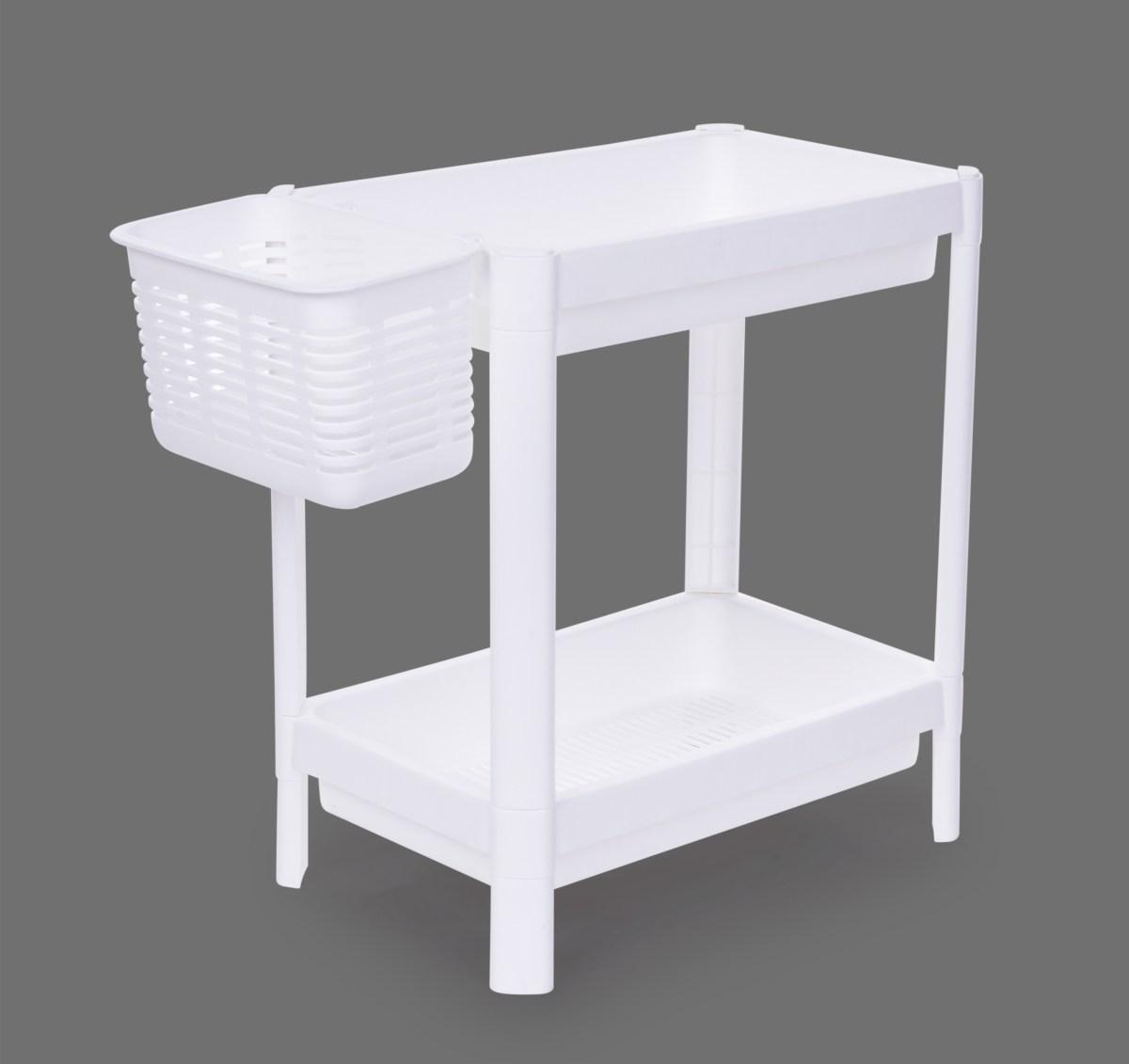 Patrový obdélníkový regál PERFOR WHITE 23 cm, 2 patrový
