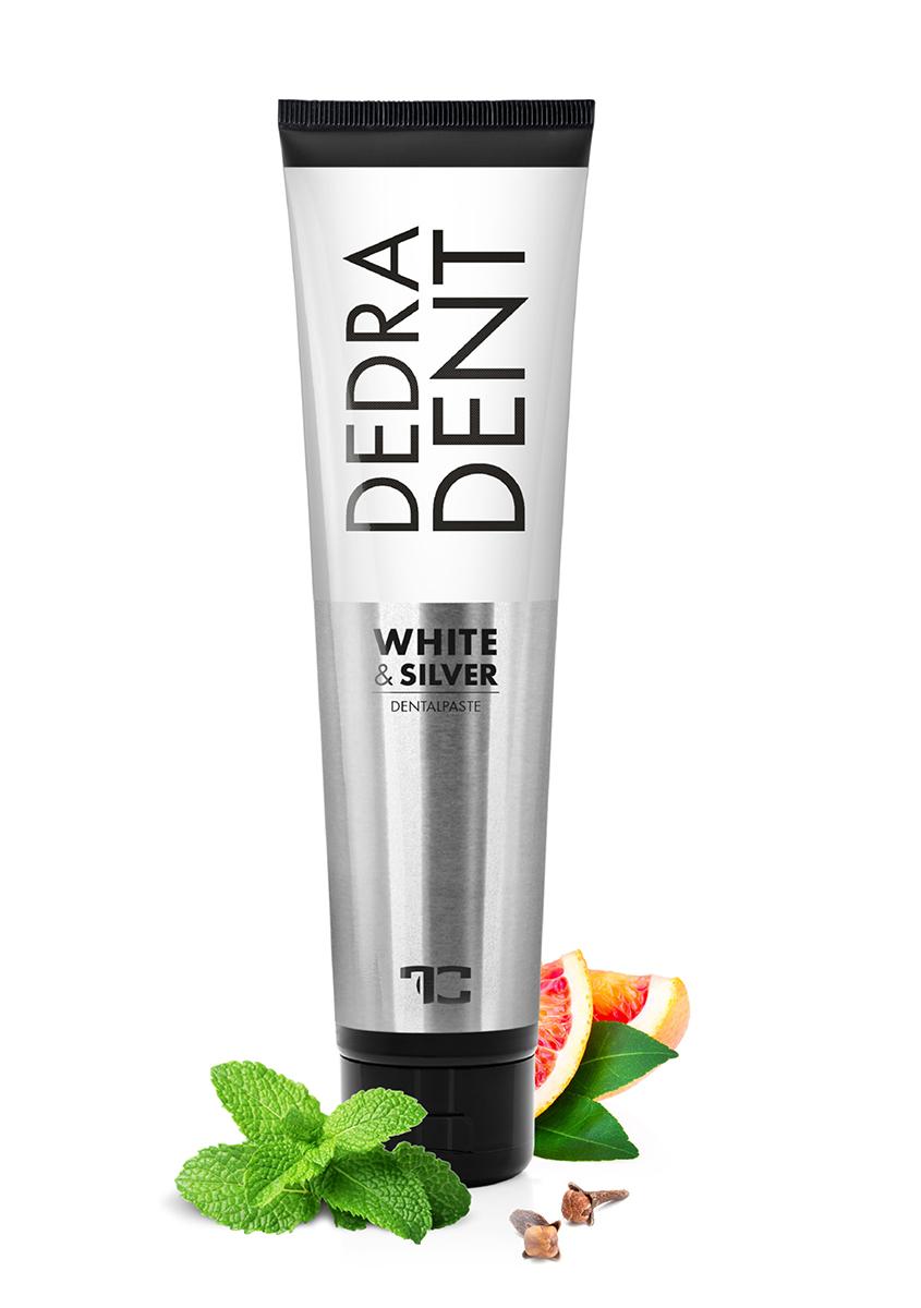 Prírodná zubná pasta WHITE & SILVER s bieliacou prísadou DEDRA DENT ZDARMA prírodný ústny sprej, 100 + 30 ml