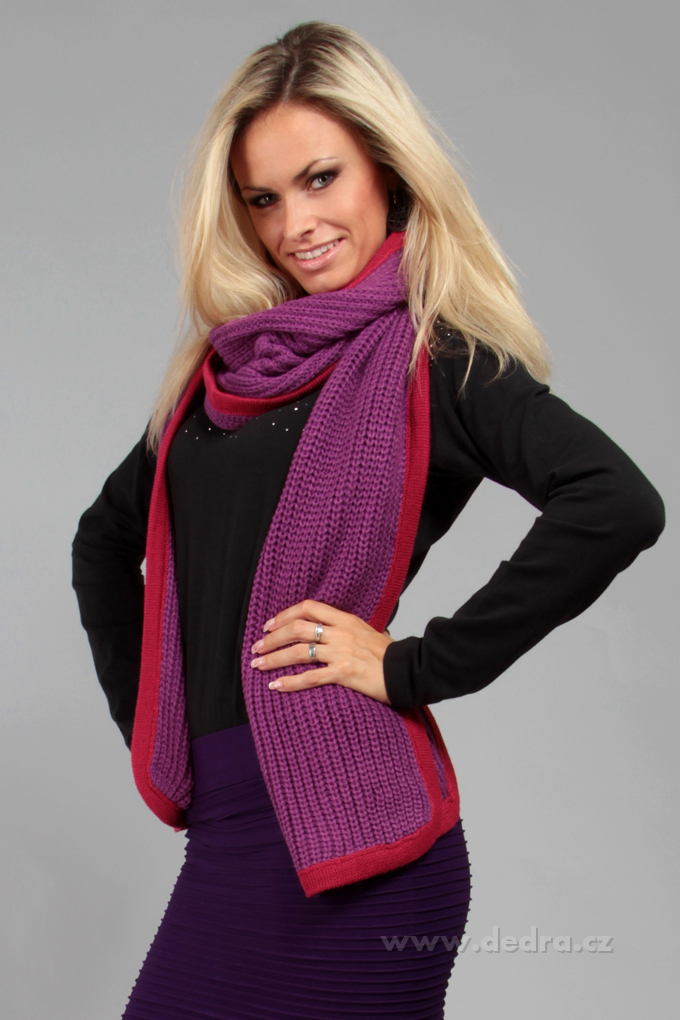 Hřejivý pletený šál s výrazným lemem, 2 COLORS
