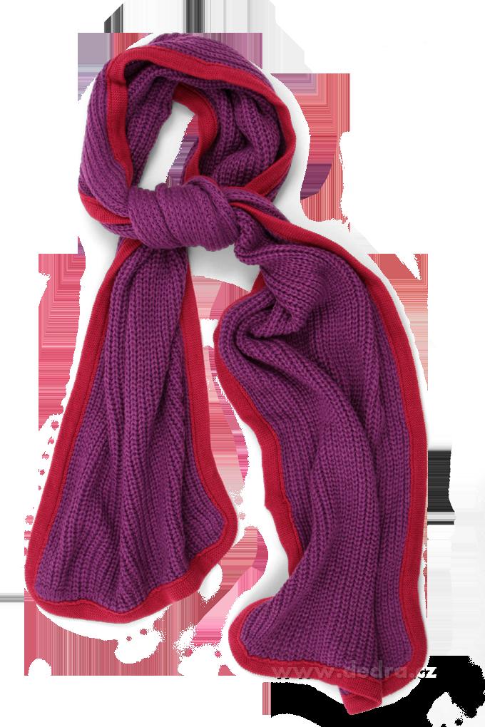 2 COLORS hřejivý pletený šál fialová + vínová