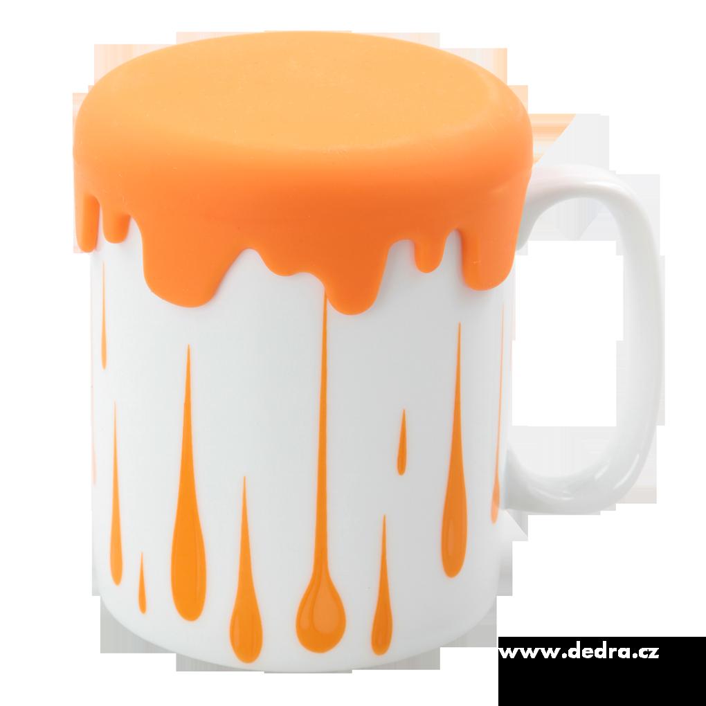 Velký porcelánový hrnek HRNEČKU VAŘ! oranžový