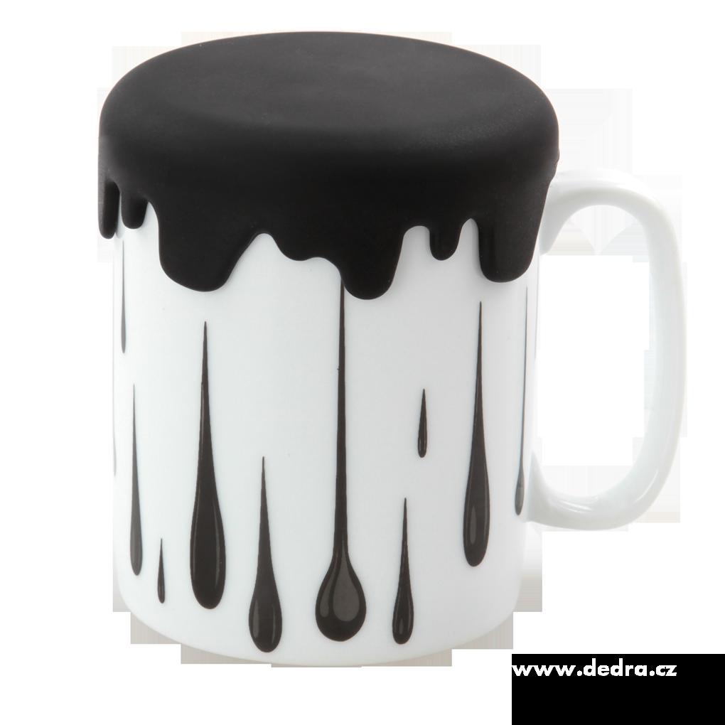 Velký porcelánový hrnek HRNEČKU VAŘ! černý