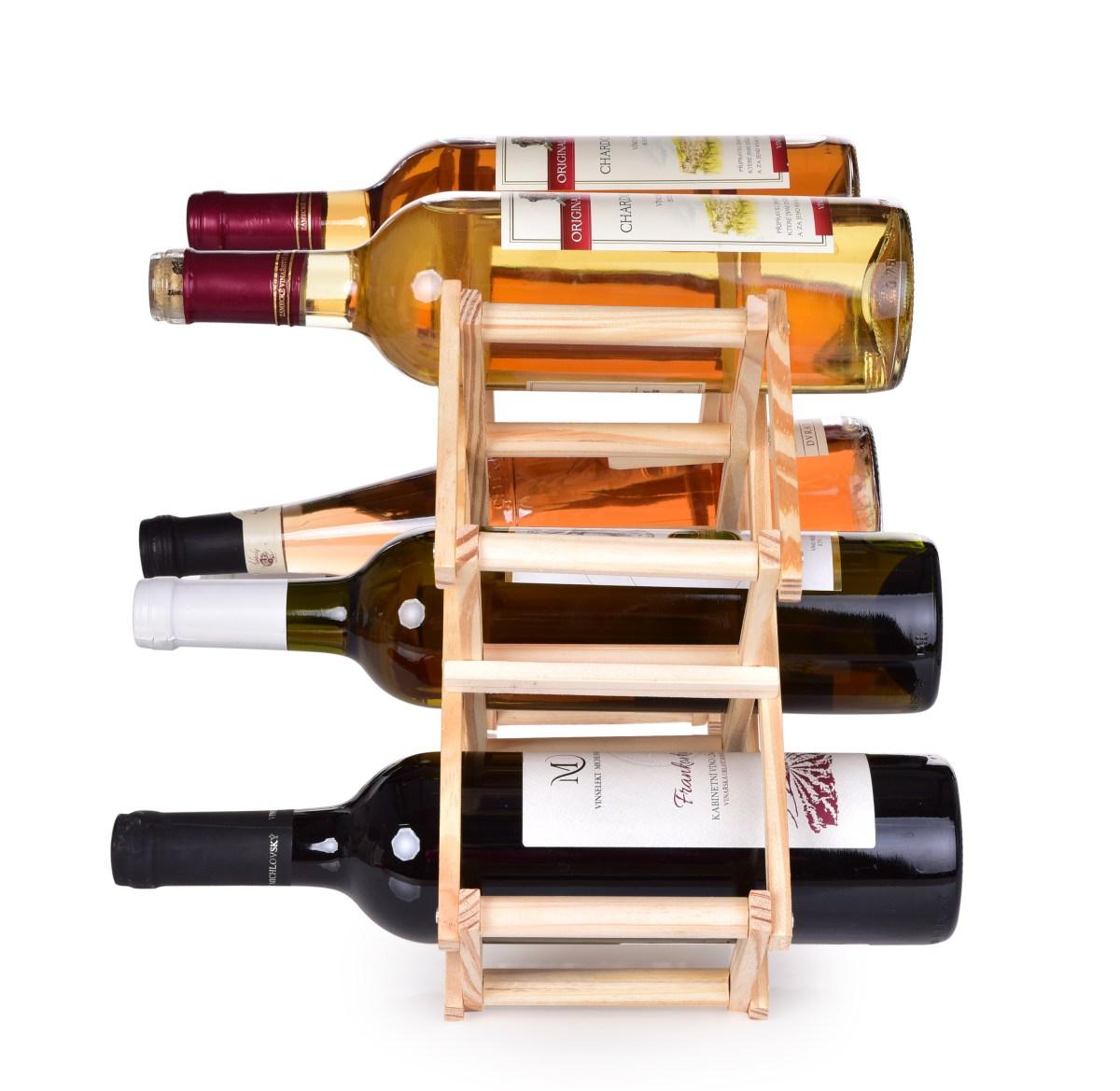 Dedra Skládací dřevěná vinotéka, stojan na víno GoEco® pro 10 lahví