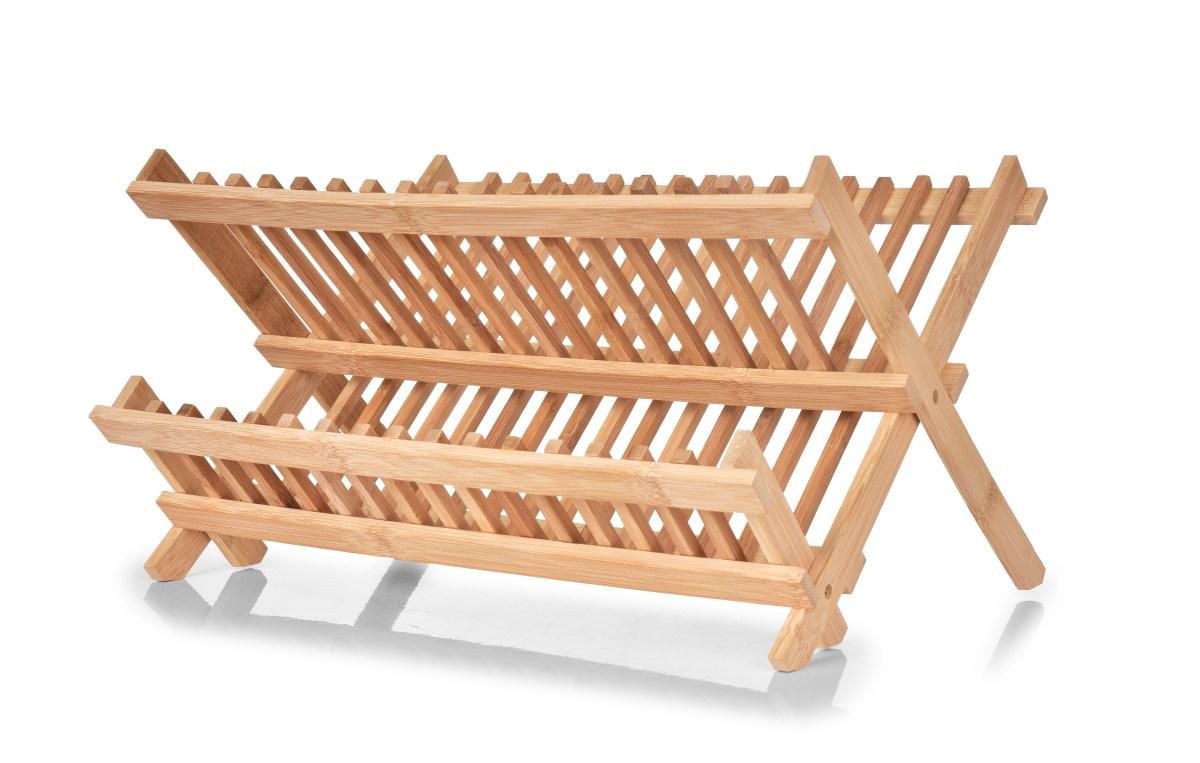Skládací bambusový odkapávač na nádobí