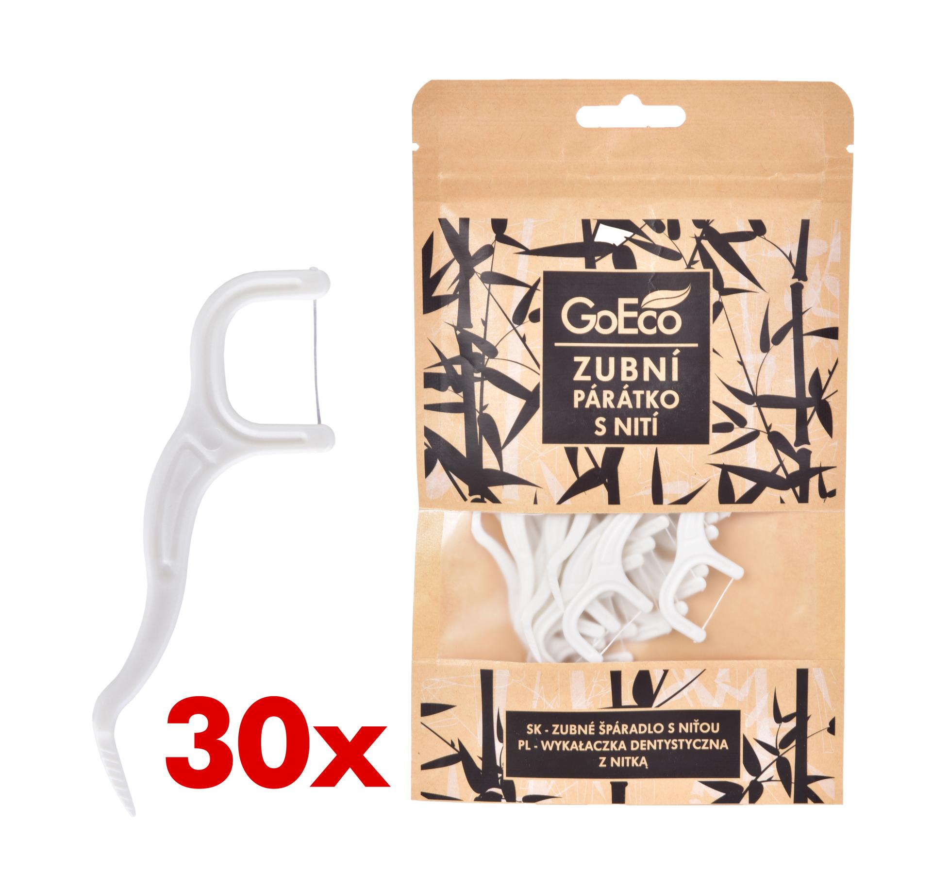 30 ks zubní párátko z kukuřice s nití, kompostovatelné, Goeco®