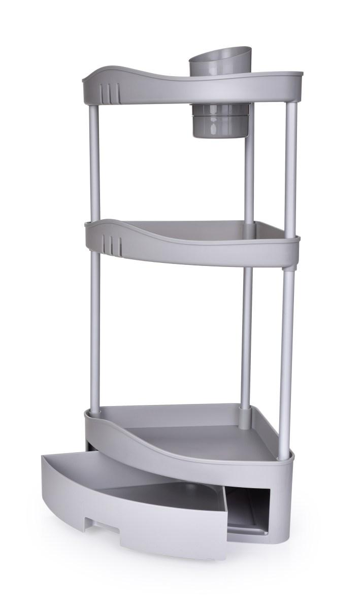 62 cm třípatrová rohová police/regál do koupelny