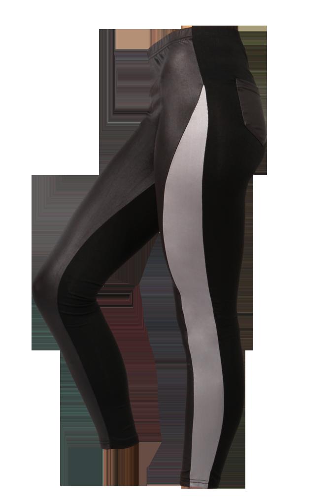 Jeggins, černé s šedým pruhem