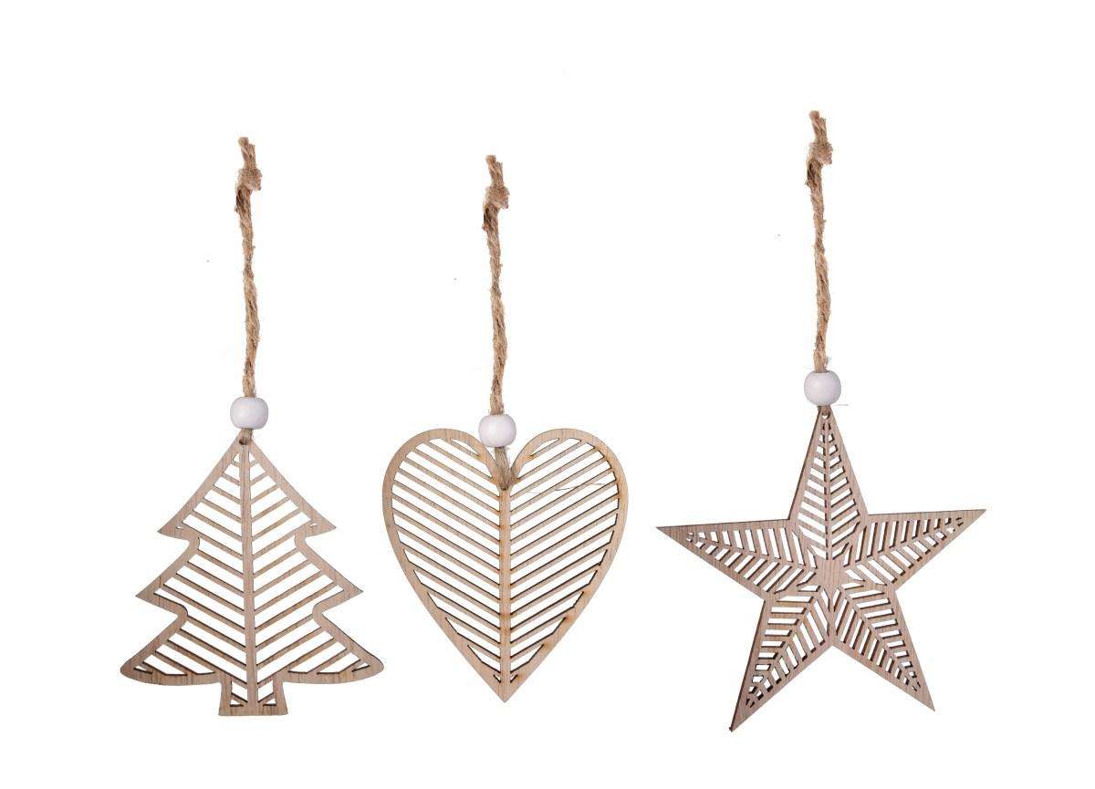 8 cm, sada 3 ks sada dřevěných vánočních ozdob