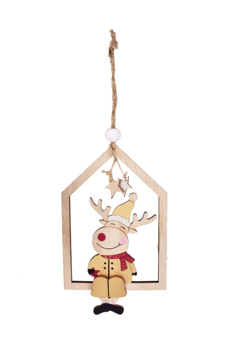 16 cm dřevěná ozdoba ve tvaru domečku s roztomilou aplikací soba