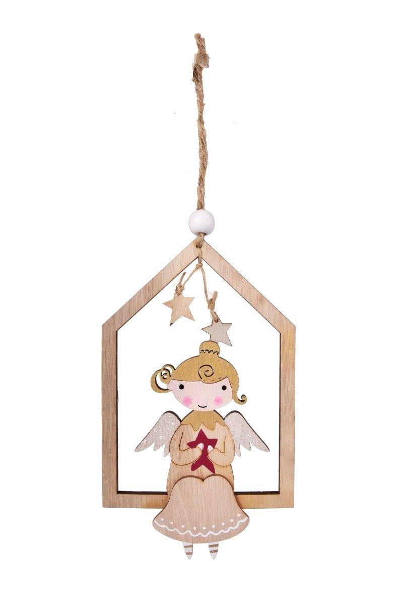 16 cm dřevěná ozdoba ve tvaru domečku s roztomilou aplikací anděla