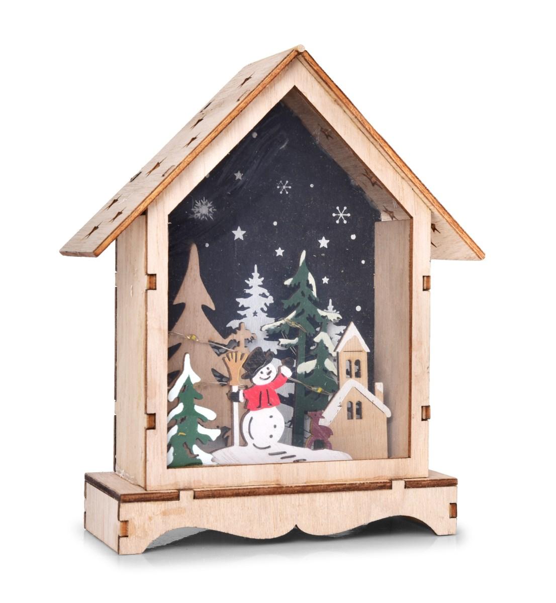 16 cm domek uvnitř s lesním zátiším s LED osvětlením