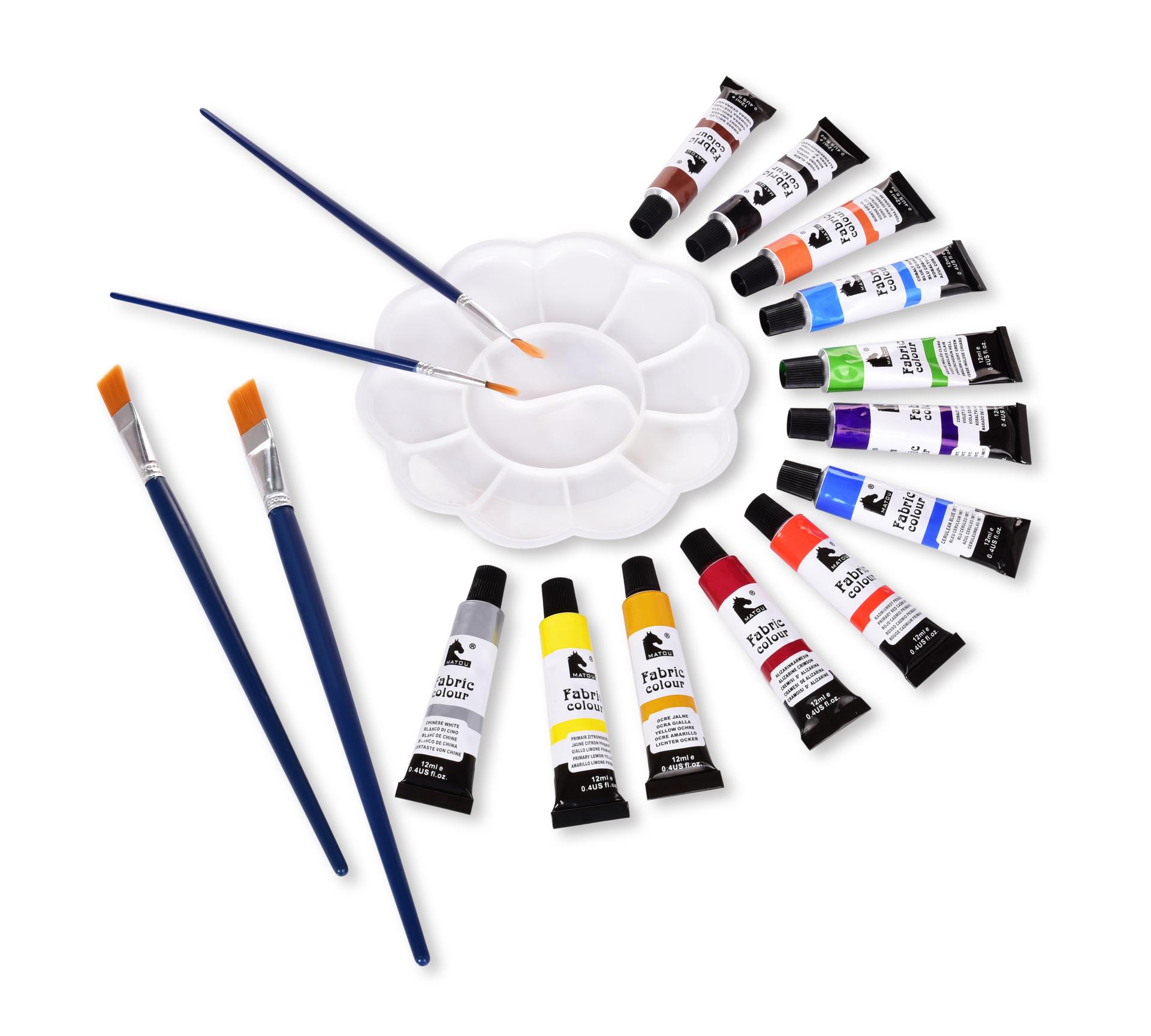 SADA 12 odstínů dekorativních barev NA TEXTIL, 4 štětce a 1 paleta