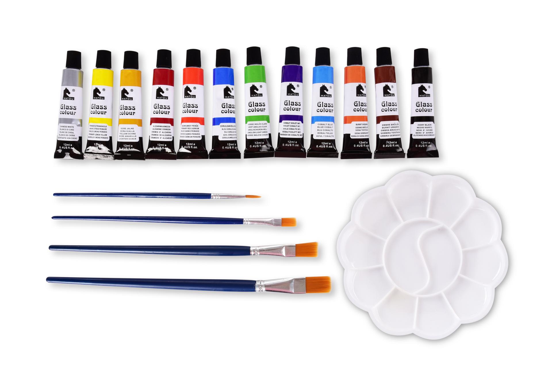 SADA 12 odstínů dekorativních barev NA SKLO, 4 štětce, 1 paleta
