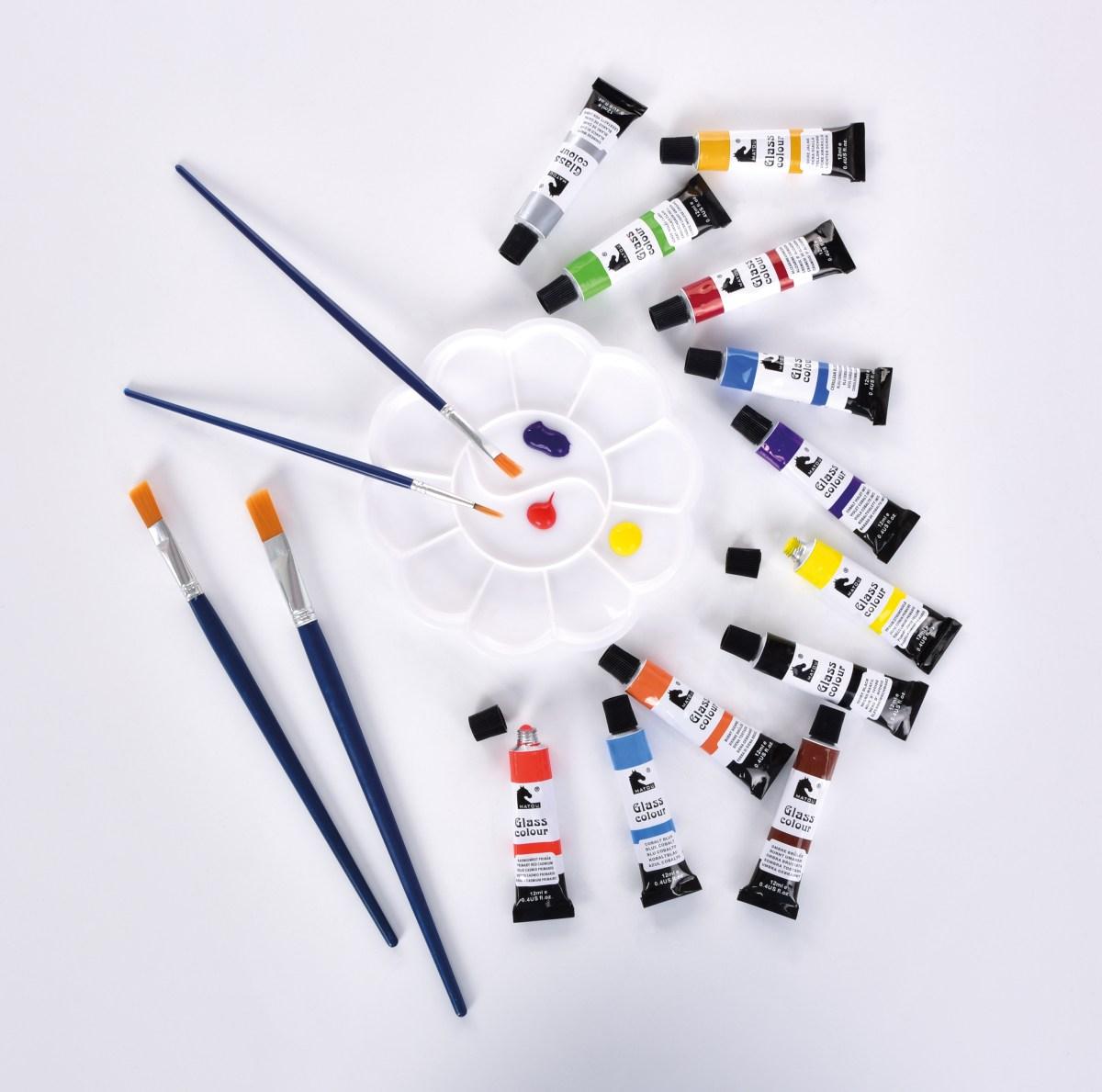 DA32842-SADA 12 odtieňov dekoratívnych farieb NA SKLO, 4 štetce, 1 paleta