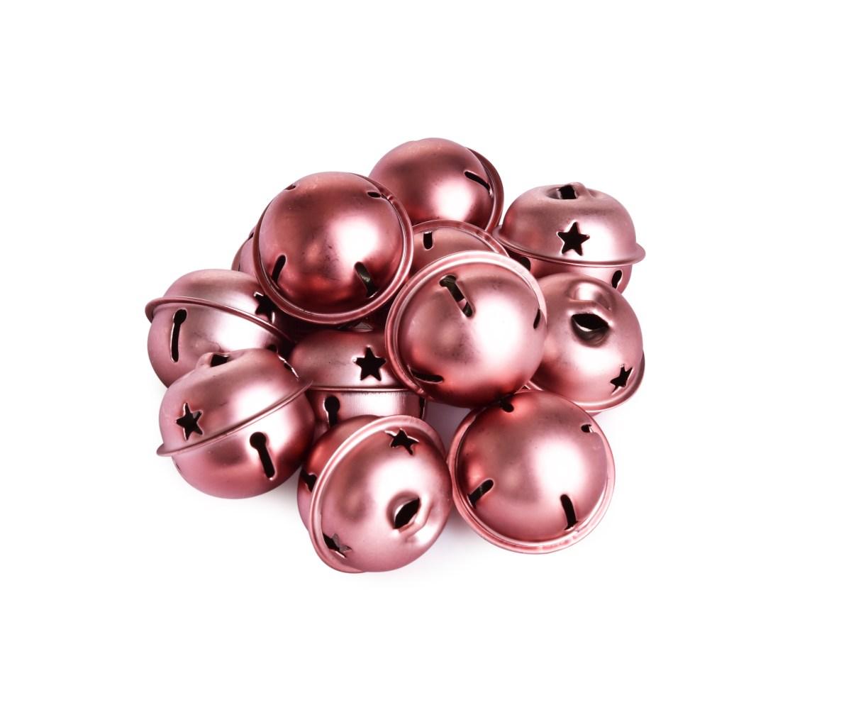 12 ks pravé kovové rolničky, v růžovo měděné barvě