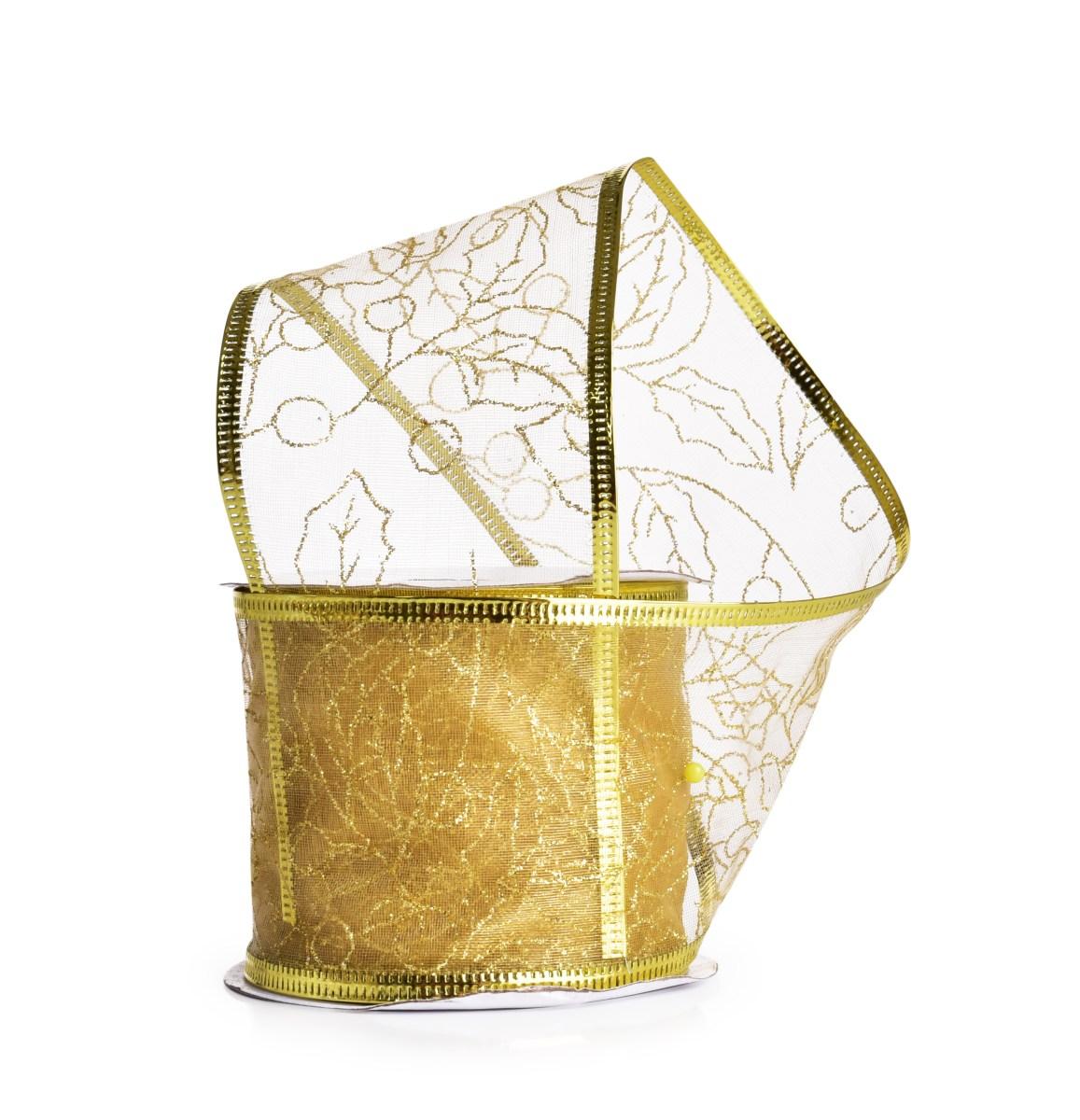Dárková dekorační síťovaná stuha, zlatá s lístky