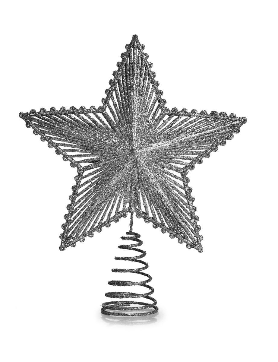 Dedra Špice na vánoční stromek ve tvaru hvězdy STŘÍBRNÁ