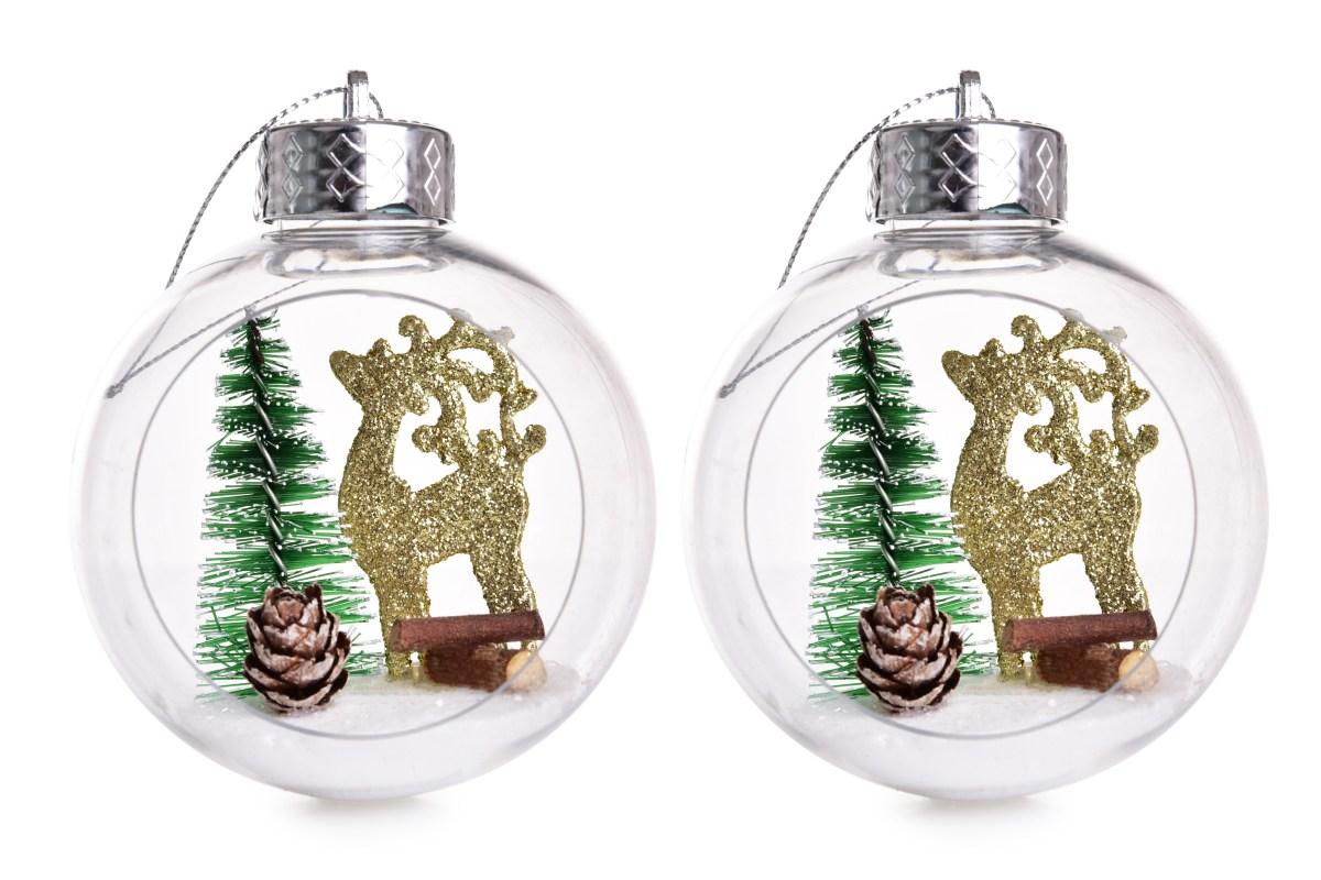 8 cm, sada 2 ks transparentních koulí s vnitřní dekorací