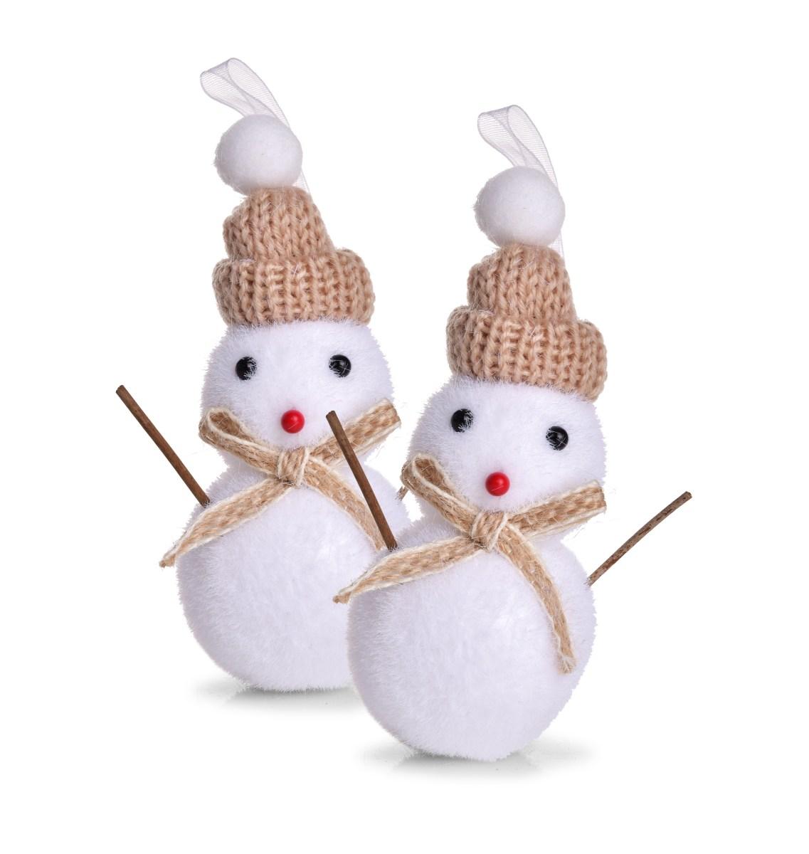 12 cm, sada 2 ks sněhuláků s čepičkou