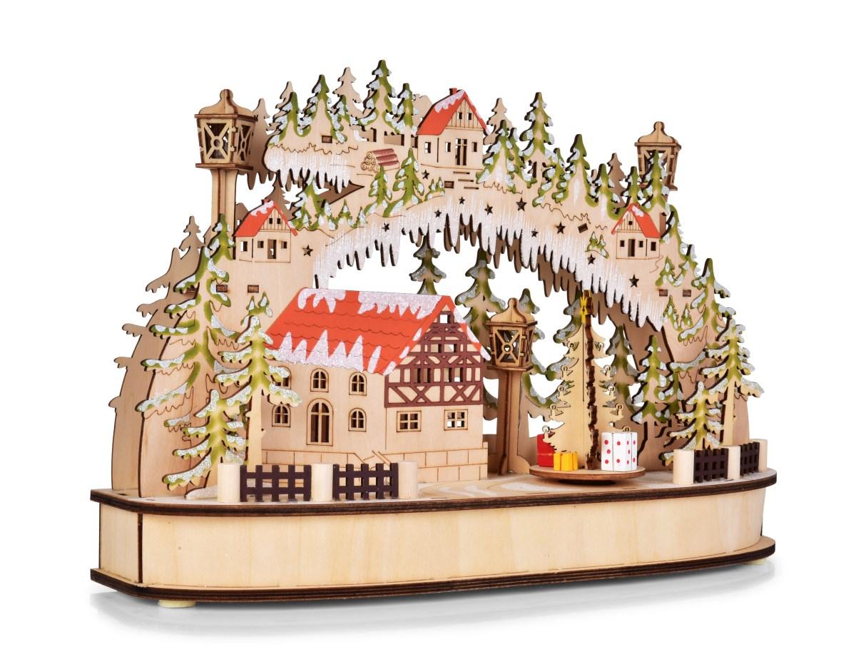 Dedra 35 cm svítící lesní vesnička s otáčejícím se kolotočem a LED osvětlením