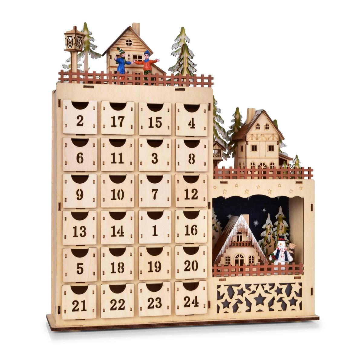 Dedra 43 cm velký adventní dřevěný kalendář s LED osvětlením