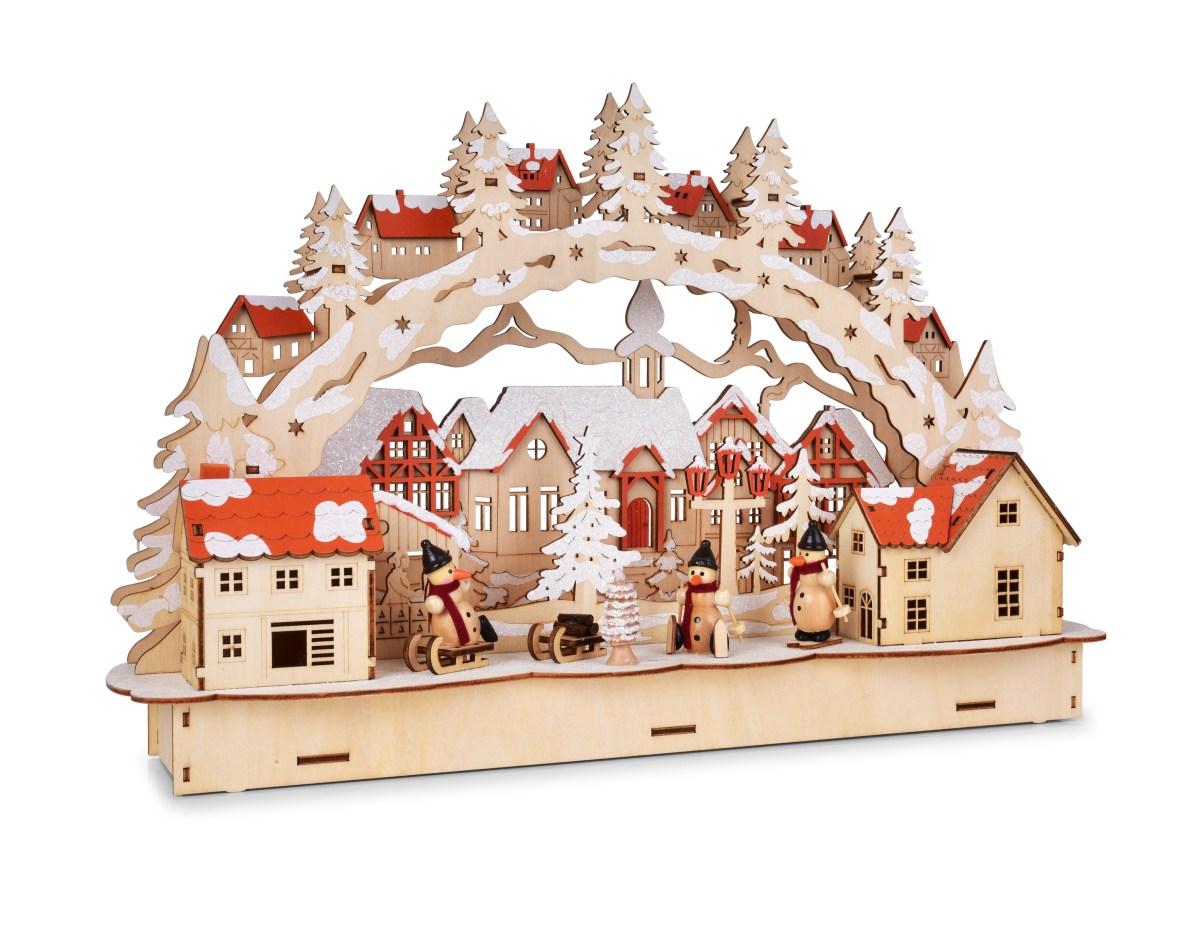 Dedra 45 cm svítící zimní městečko s vnitřním LED osvětlením