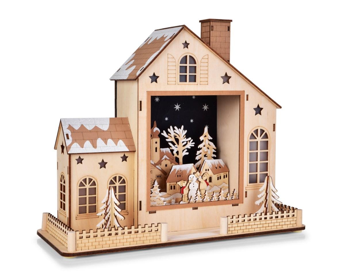Dedra 35 cm domek se zimní krajinou s LED osvětlením