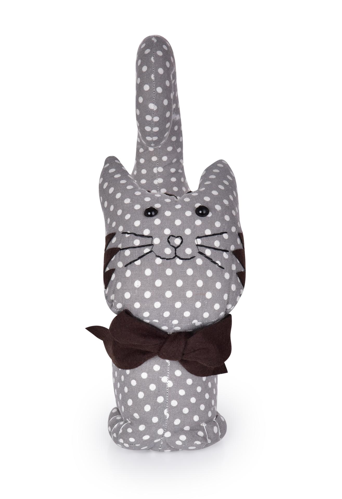 Dveřní textilní zarážka ve tvaru kočky