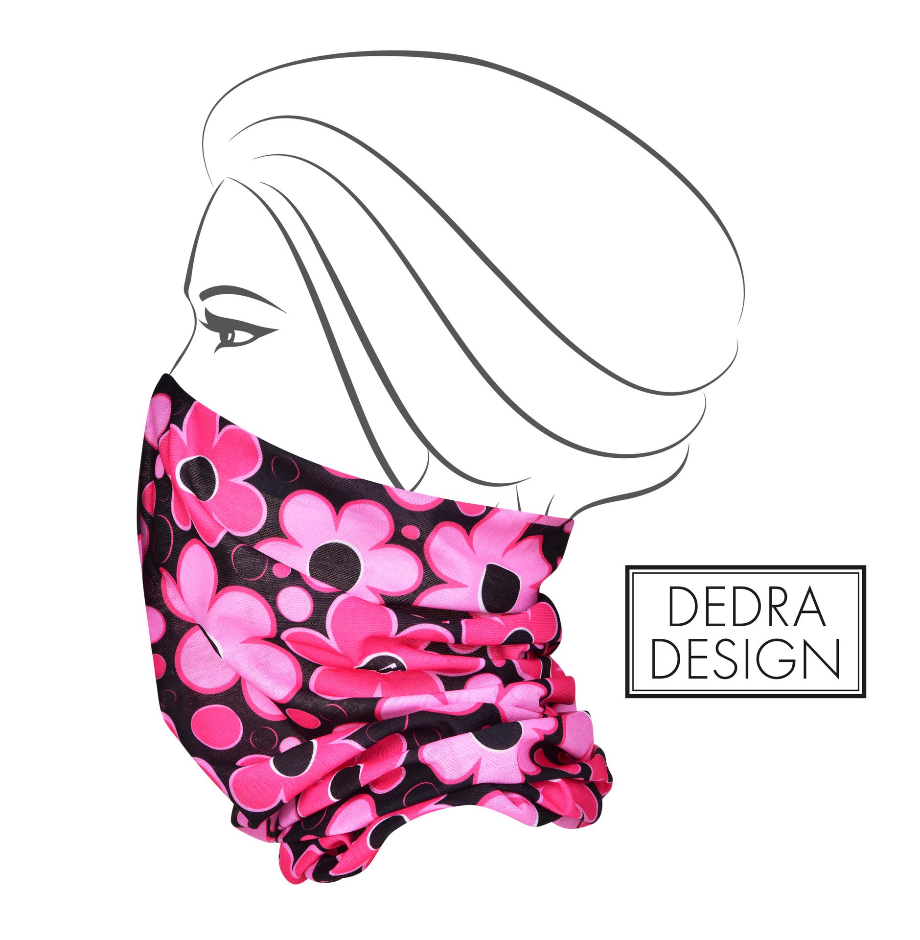 Multifunkční šátek růžové DAISY FLOWERS