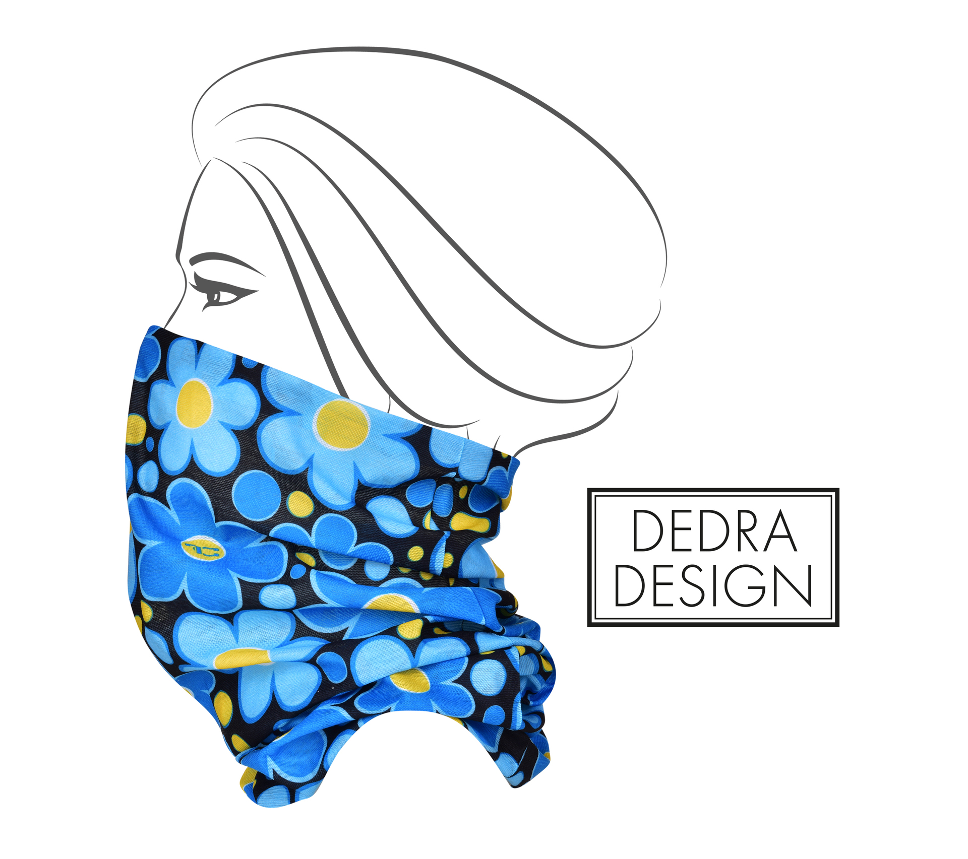 Multifunkční šátek modré DAISY FLOWERS