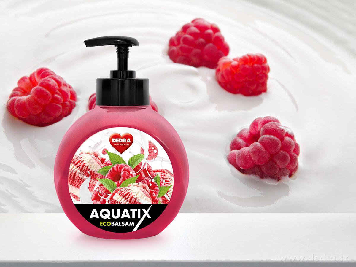 EKO koncentrát na ruční mytí nádobí, ECOBALSAM AQUATIX®, maliny se smetanou, s pumpičkou