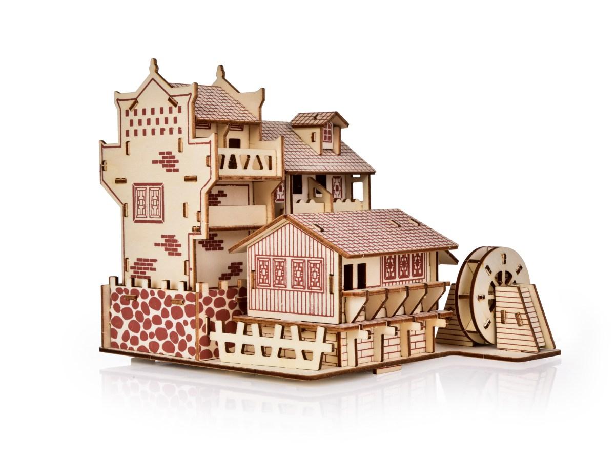 22 cm skládací dřevěná dekorace DŘEVĚNÝ MLÝN