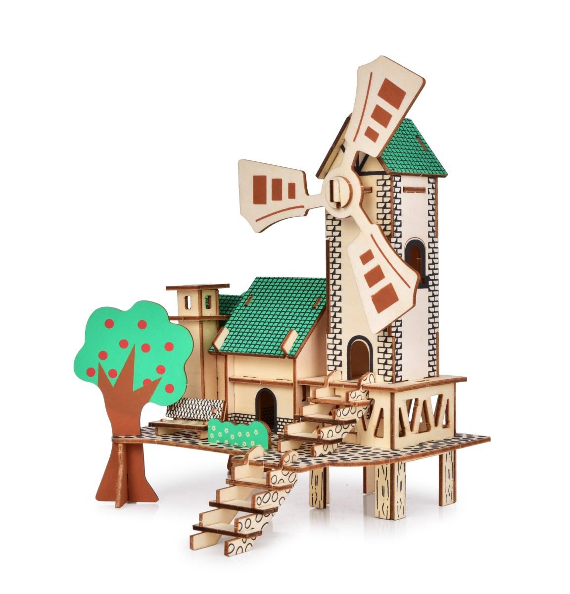 22 cm 3D skládací dřevěná stavebnice MLÝN