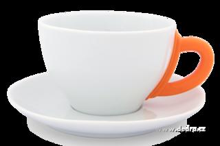 Porcelanowa fili¿anka, ze spodkiem pomarañczowa, 280 ml