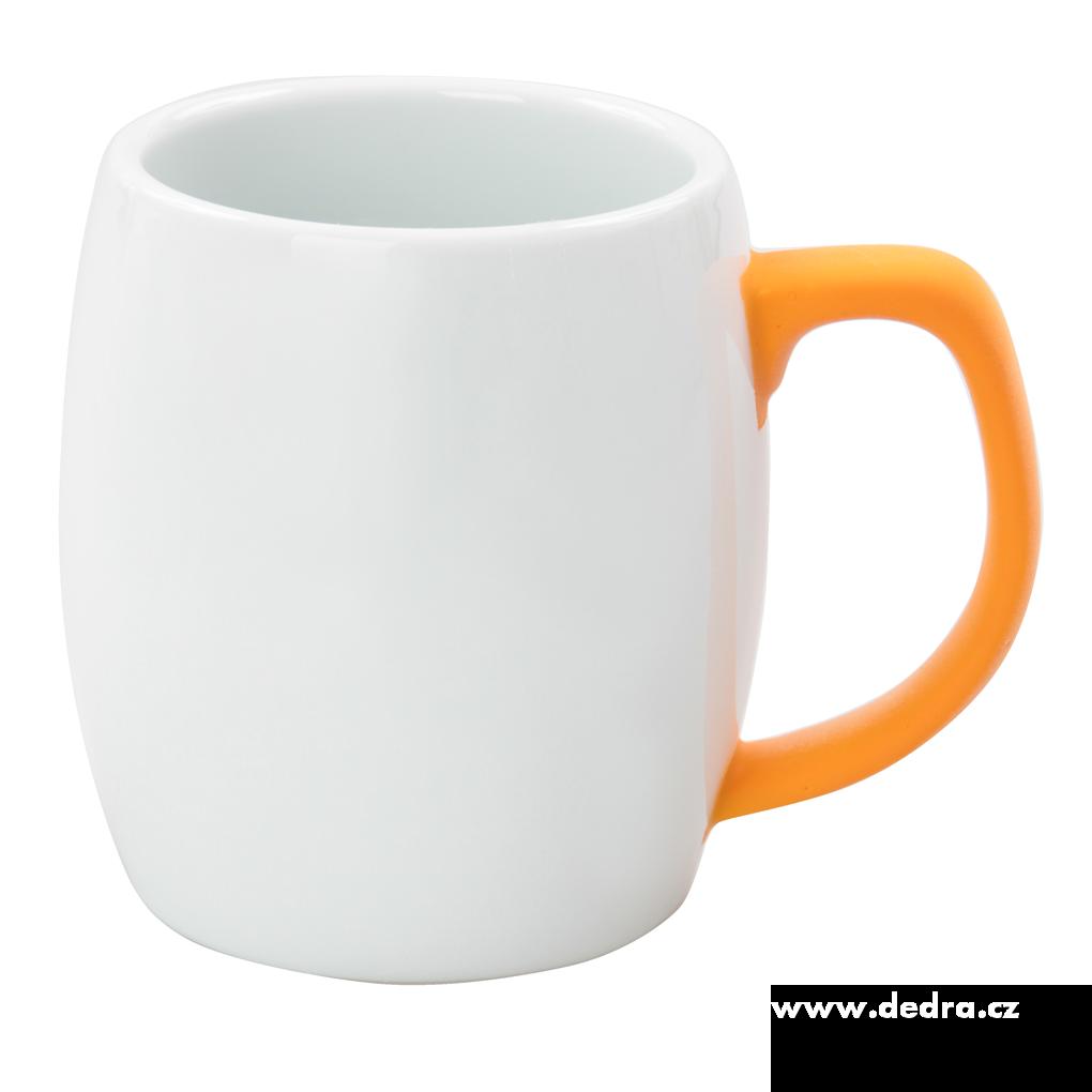 Hrnek s uchem 420 ml oranžový porcelán/silikon