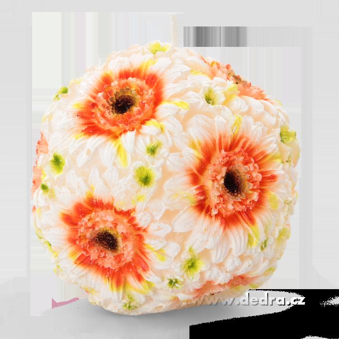 12 cm svíce květinová koule oranžovo-bílé gerbery
