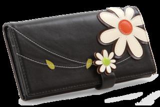 Dámská peněženka, s aplikací květin