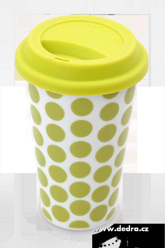 Dvoustěnný porcelán.termo hrnek KELIMEROjas.zelený puntíkatý