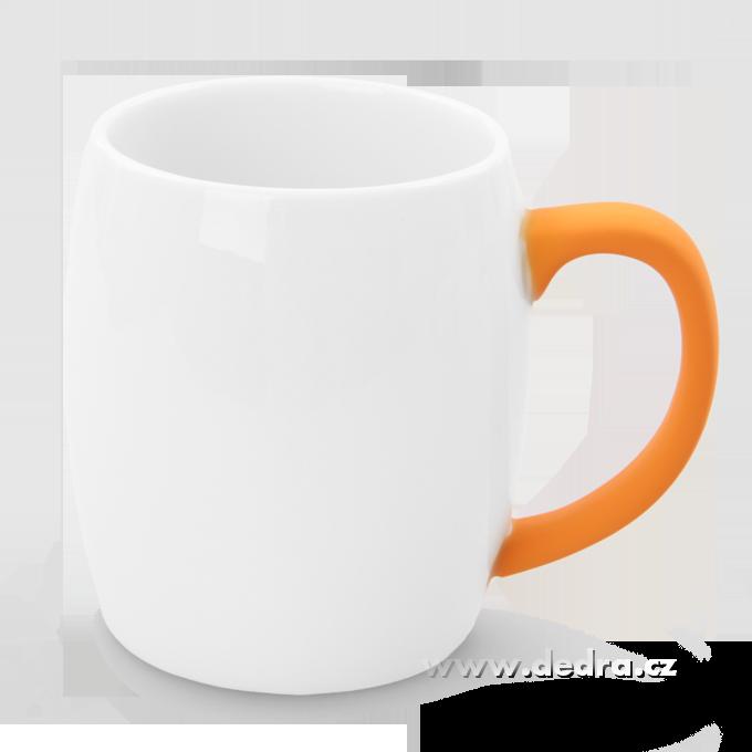 Hrnek s uchem 600 ml oranžový porcelán/silikon