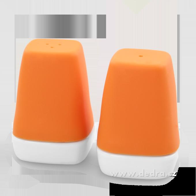 DA69683-Soľnička a korenička oranžovej porcelán / silikon