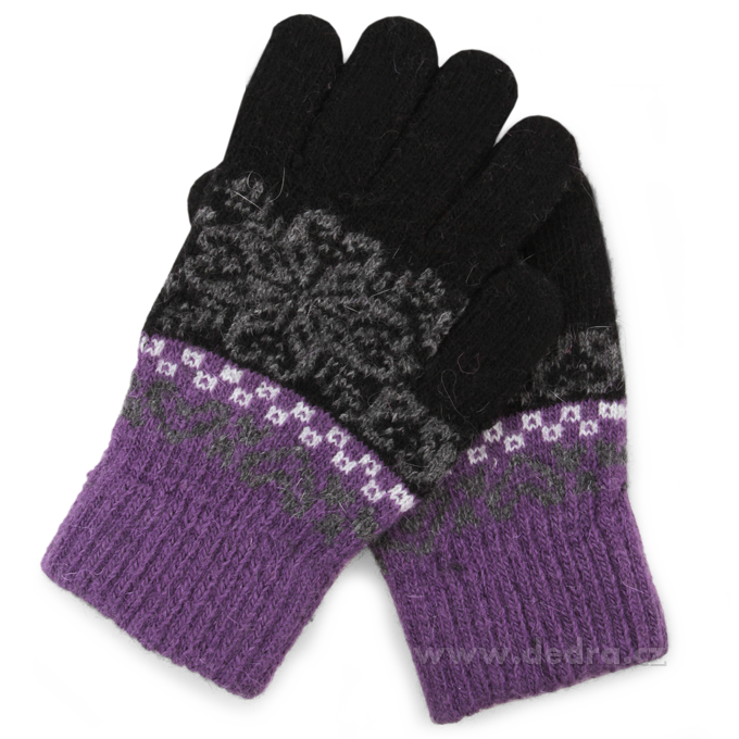 Pletené rukavice, černo-fialové
