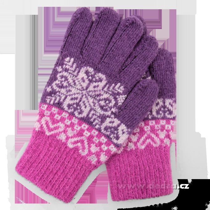 Pletené rukavice, fialovo-fuchsiové