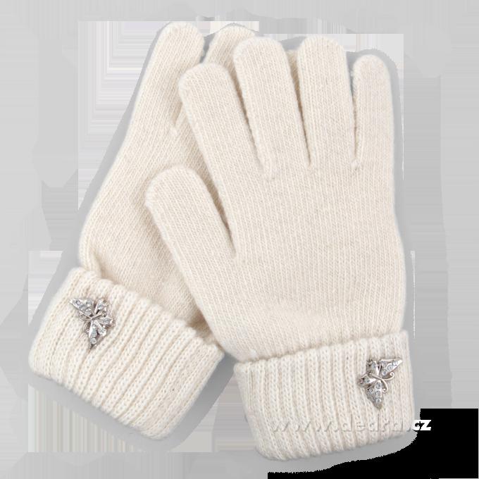 Prstové rukavice, smetanově bílé